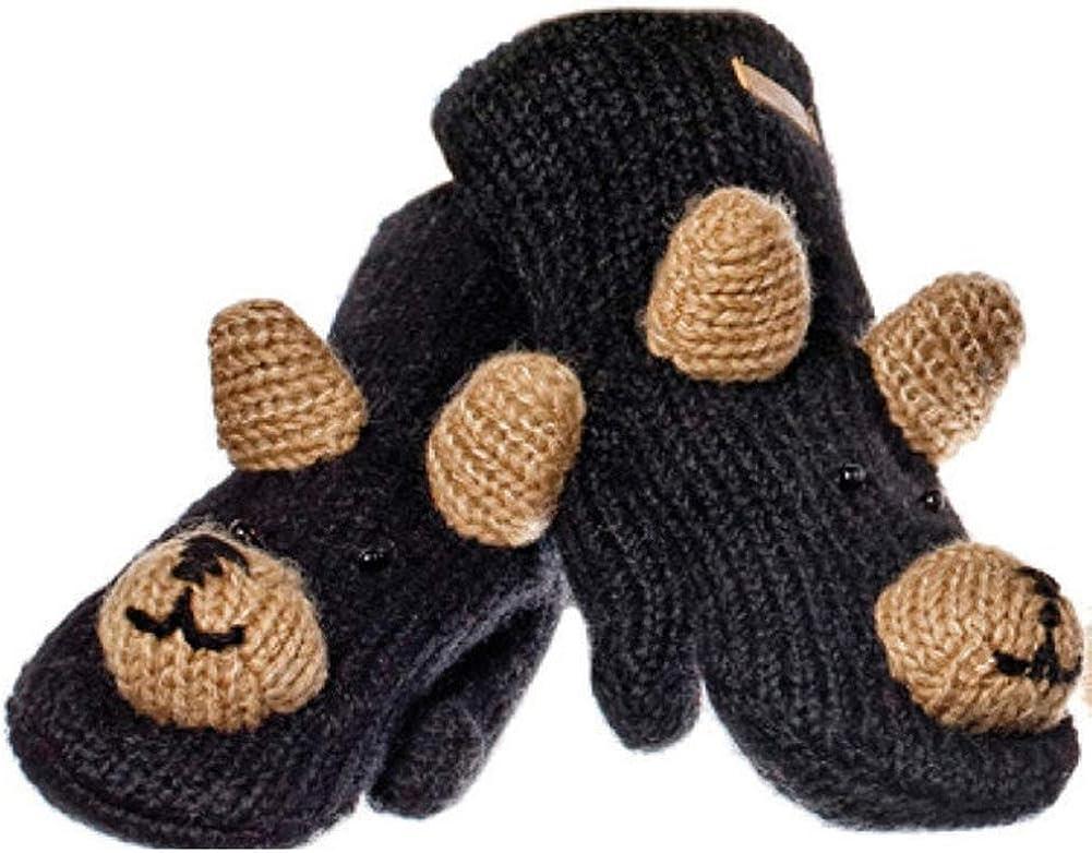 Animal World - Babu the Black Bear Kids Knit Mittens Black