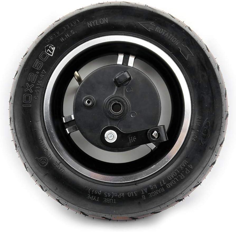 L-faster Rueda de Scooter CST de 10 Pulgadas con Freno de Tambor 10x2.5 Rueda neumática Uso de neumático y Tubo CST Cable de Freno de 1.8 m Eje de 90 mm y Palanca (Wheel Only)