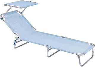 LOLAhome Tumbona Playa con Visera Parasol de Aluminio con 3 Posiciones (Azul y Blanco)