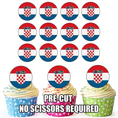 Kroatië Vlag - 24 Eetbare Cupcake Toppers/Verjaardag Cake Decoraties - Easy Precut Circles