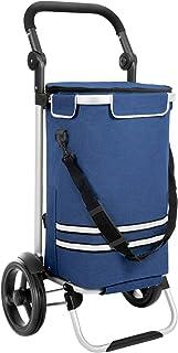 SONGMICS Caddie de courses, Chariot de courses, pliable, avec sac isotherme, polyvalent, sac amovible, roulettes, solide, ...
