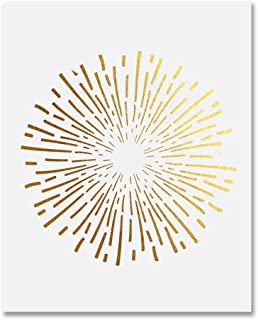 Burst Gold Foil Art Print Abstract Circle Fireworks Concentric Lines Sun Starburst Poster Contemporary Geometric Wall Art 8 inches x 10 inches B1