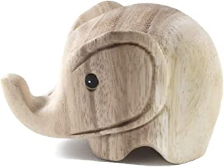 Thai Arts & Creations Modern Handmade Natural Unfinished Wooden Carved Elephant - Animal Doll Figurine - Collectibles Decor