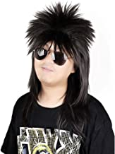 FantaLook 80s Long Black Wig with Bandana