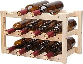Mo Duo Denim Shorts 12Bottle Red Wine Rack DIY Beer Holder Kitchen Bar Solid Wood Display Shelf Room Wine Cabinet Hotel Wine Bottle Rack LU720348,3 Floor