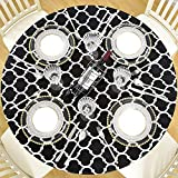 DecorMaster Round Fitted Vinyl Tablecloth with Flannel Backing Elastic Edge Waterproof Plastic Table Cover for Outdoor Patio Kitchen and Dining Room Black and White 40in-44in Small