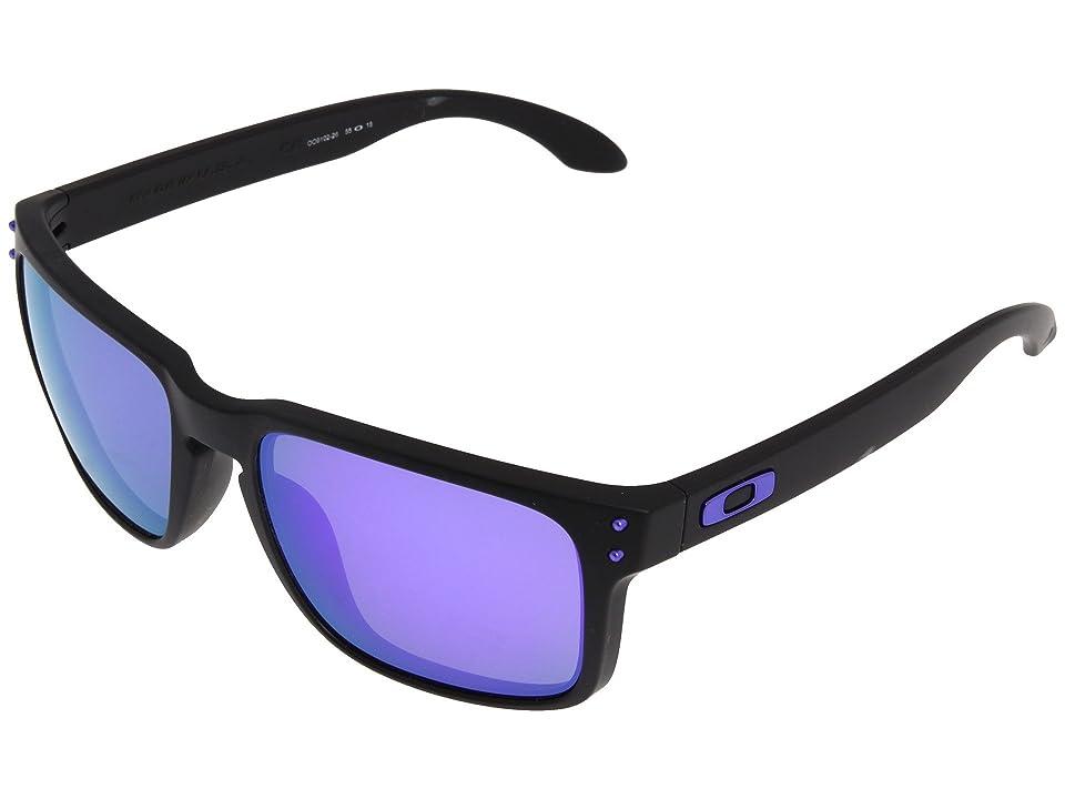 Oakley Holbrook (Julian Wilson Matte Black w/Violet Iridium) Sport Sunglasses