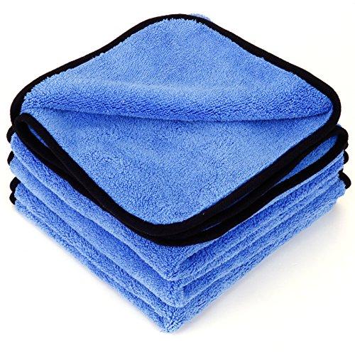 4 Stück Mikrofasertücher Mikrofaser-Reinigungstücher 600GSM 40x40cm Trockentücher Poliertücher zur professionellen Autopflege für Auto Motorrad Werkstatt oder Haushalt (Blau, 4 Stück)
