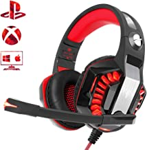 Gaming Headset for PS4 Xbox One PC, Beexcellent 2019 New Professional Over Ear Gaming Headphones with Deep Bass Surround Sound, LED Light & Noise Canceling Microphone for Nintendo Switch Mac Laptop