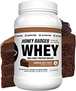 Honey Badger Natural Keto 100% Whey Protein Powder Isolate | Chocolate Cake | Gluten Free Paleo + Amino Acids BCAA Digestive Enzymes | Hydrolyzed Grass-Fed Protein Supplement Sucralose Free | 2 Lbs