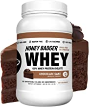 Honey Badger Natural Keto 100% Whey Protein Powder Isolate | Chocolate Cake | Gluten Free Paleo + Amino Acids BCAA Digesti...