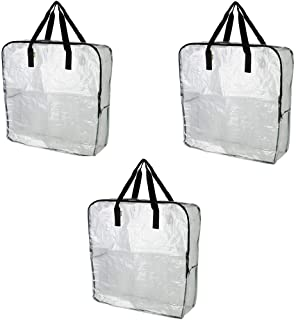 Pack of 3 - Extra Large Clear Storage Bag for Clothing Storage, Under the Bed Storage, Garage Storage, Recycling Bags