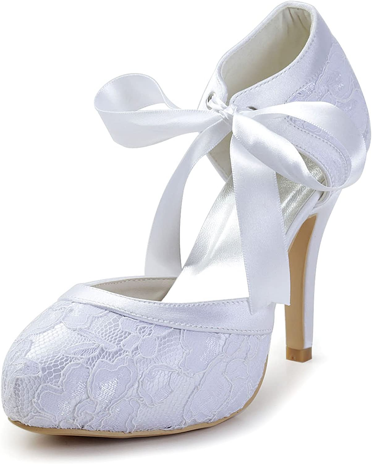 Minishion GYAYL452 Womens Stiletto High Heel Lace Evening Party shoes Bridal Wedding Mary Jane Pumps