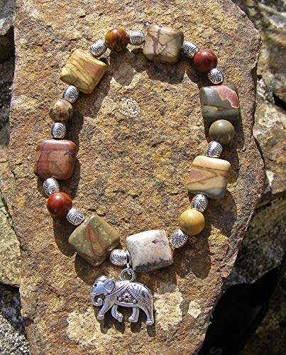 Elephant Jasper bracelet, Autumnal colours, square and round beads. Handmade in Cornwall