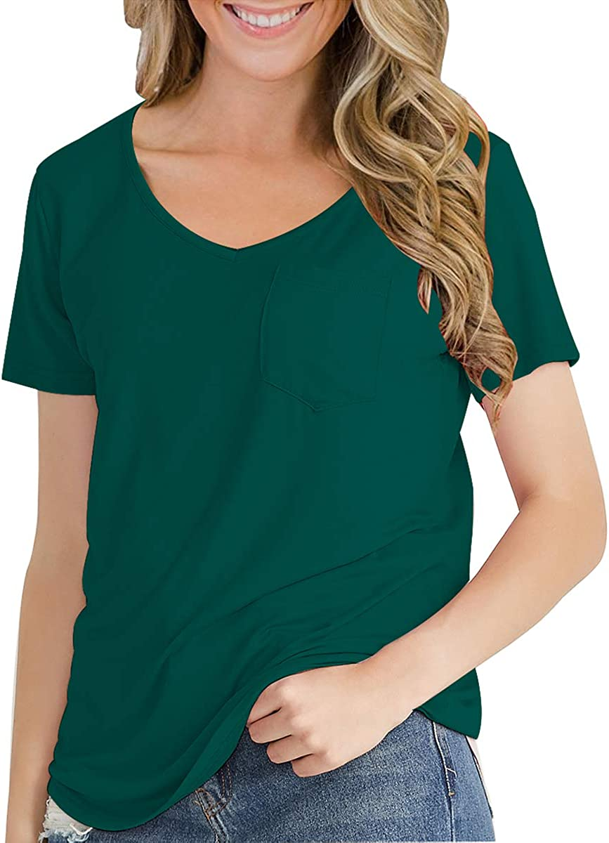 LuFeng Womens Casual V Neck T-Shirt Long Sleeve Short Sleeve High Low Tunic Loose Blouse Tops with Pocket