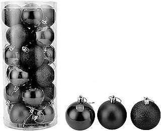 feng biao Christmas Ball Pendant, Decorative Shatterproof Christmas Tree Pendants Hanging 40mm Christmas Baubles Balls Ornaments Set Pack of 24 pcs (Black)