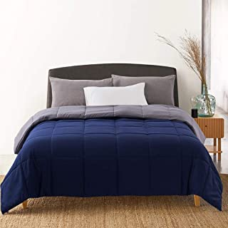 Cosybay Reversible Down Alternative Comforter Blue/Grey - Corner Duvet Tabs- Double Sided & Lighweight -All Season Duvet Insert-Stand Alone Comforter – Queen Size(88×92 Inch)