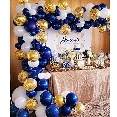 Review Of Soonlyn Navy Blue Balloons 104 Pcs 12 Inch Confetti Balloons White Latex Balloon Garland K...