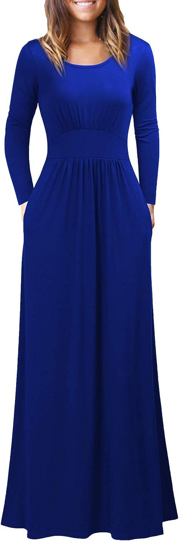 WOOSEA Women's Long Sleeve Loose Plain Maxi Dresses Casual Long Dresses with Pockets