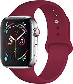 QIENGO Sport Band Compatible with Apple Watch Band 38mm 40mm 42mm 44mm, Soft Silicone Replacement Sport Strap Compatible with iWatch Apple Watch Series 5/4/3/2/1