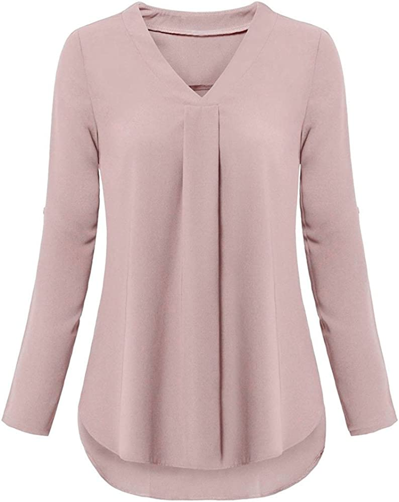 Womens Plus Size Tops, F_Gotal Womens Summer Roll-Up Sleeve V Neck Shirts Loose Swing Casual Tunic Tops T Shirt Blouses