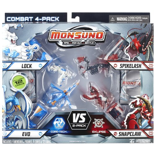 Monsuno Series 1 - 4 Core Combat Pack with Lock #01, Evo #09, Spikelash #08, Snapclaw #13, 4 Cores and 12 Cards