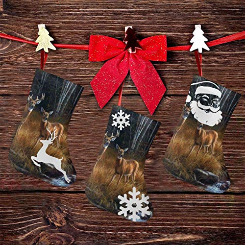 Rustic Animal World Wildlife River Edge Deers Christmas Stockings,3 Pcs 7.5 Inch Socks of Santa Snowman Reindeer Xmas Character for Family Party Mall Decoration Christmas Tree Fireplace Stairs Chimney