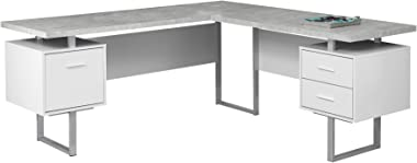 "Monarch Specialties Computer Desk Left or Right Facing White / Cement-Look 70""L"