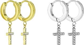 Stainless Steel CZ Cross Dangle Hanging Hinged Hoop Earrings Small Bling Dangling Cross Drop Dangle Earrings (Silver, Gold, Black)