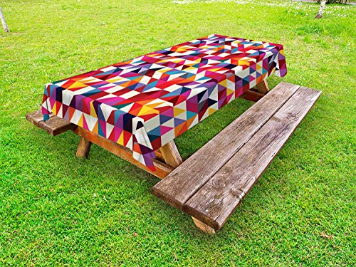 ABAKUHAUS Geometrisch Outdoor-Tischdecke, Bauhaus-Art-Muster, dekorative waschbare Picknick-Tischdecke, 145 x 210 cm, Mehrfarbig