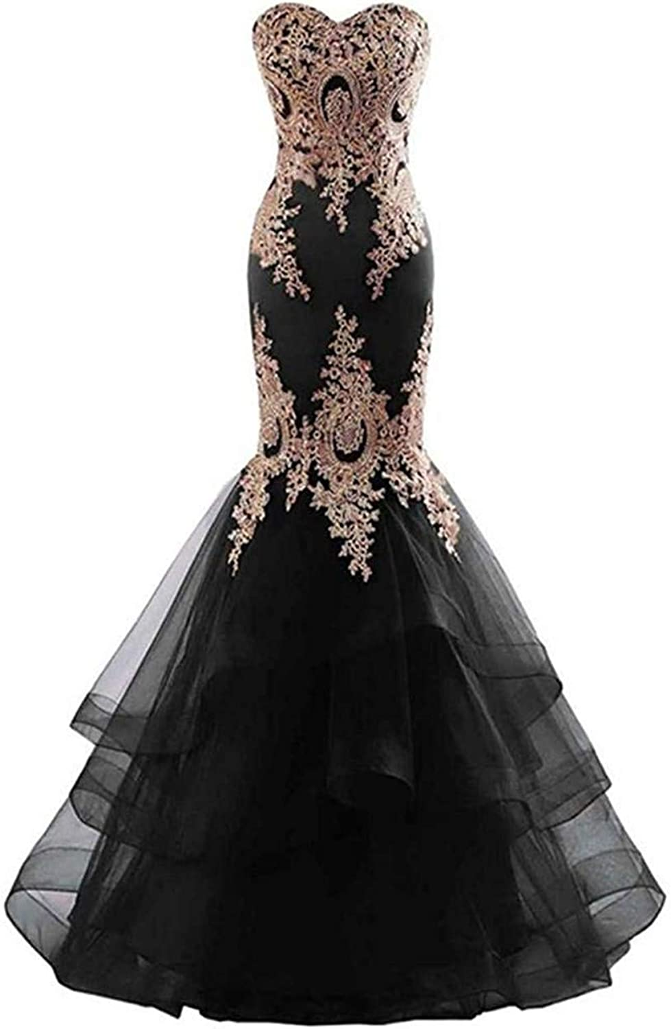 Sophie Women's Sweetheart gold Lace Applique Mermaid Prom Dress Long Sleeveless Tulle Evening Gown S166