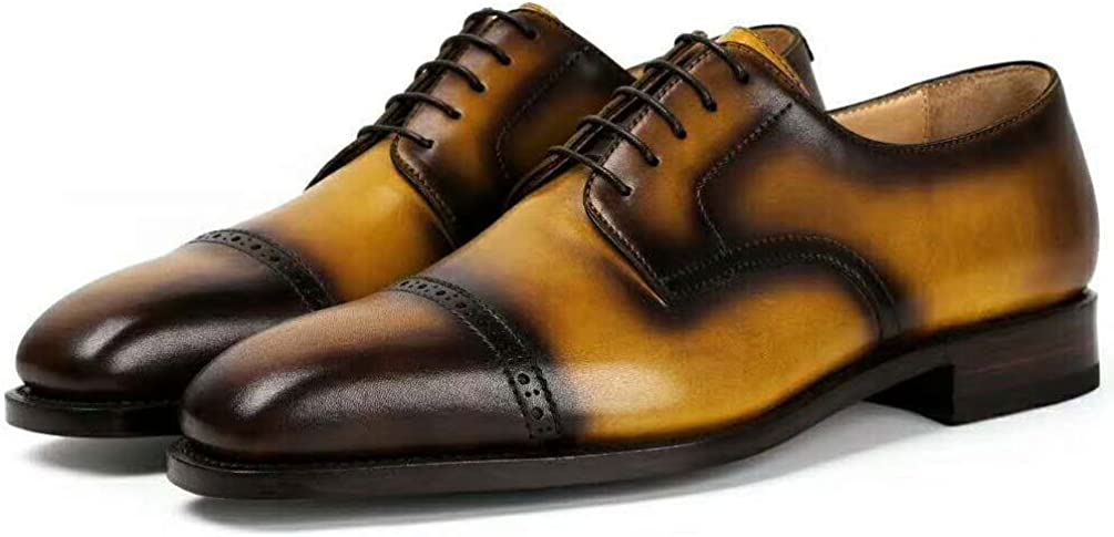 ROYAL WIND Men's Handmade Leather Modern Classic Lace up Leather Lined Perforated Dress Oxfords Shoes