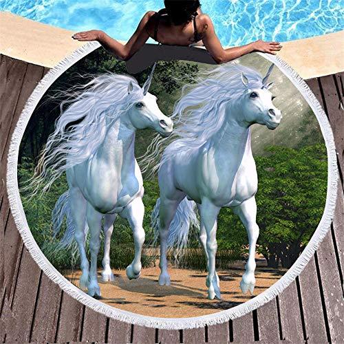 BCDJYFL 3D Impresas Toalla De Playa Unicornio Impreso En 3D Toalla De Playa Rectangular para Niños Estera De Yoga De Verano para Niños.-Diámetro: 150Cm