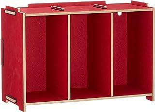 Werkhaus Caja para DVD (apilable), color rojo oscuro