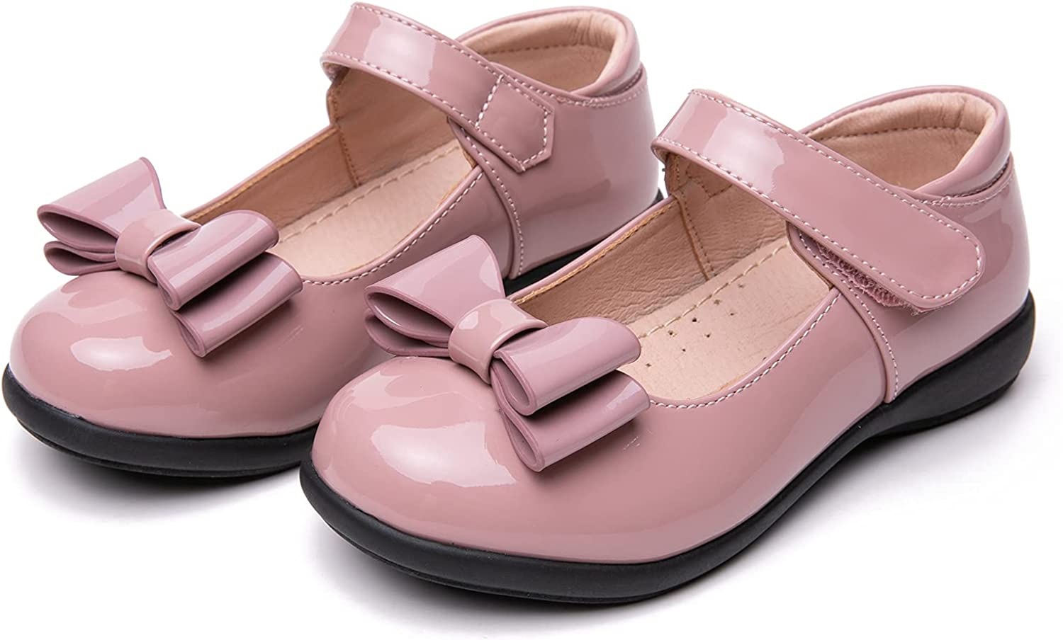 youngshow Girl's Mary Jane Flats Bow Hook-and-Loop Fastener Ballet Flat School Uniform Dress Shoes for Girls