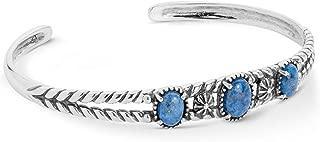 American West Sterling Silver Blue Denim Lapis Gemstone Three Stone Friendship Cuff Bracelet Size Medium
