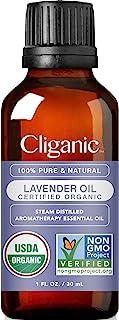 Cliganic USDA Organic Lavender Essential Oil, 1oz - 100% Pure Natural Undiluted, for Aromatherapy Diffuser | Non-GMO Verified