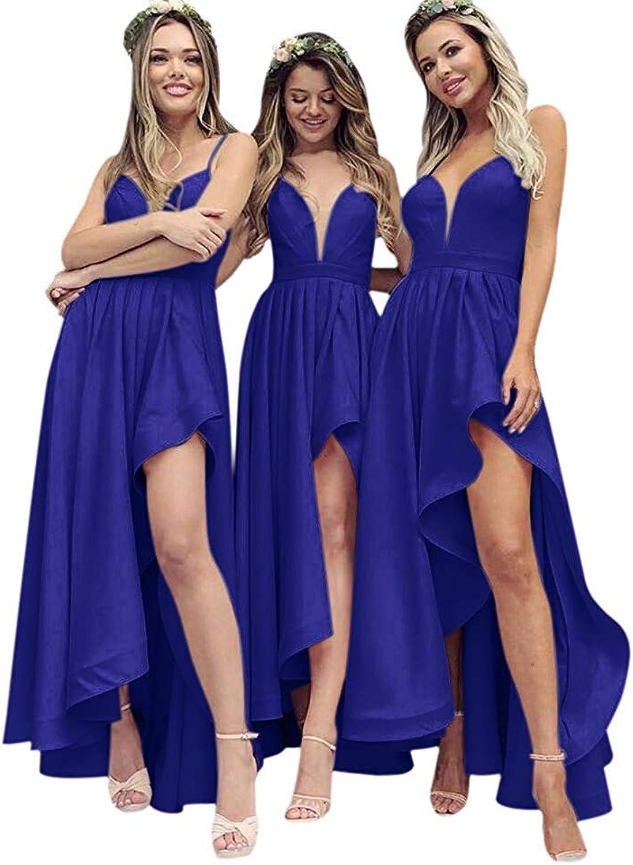 Fanciest Women' Spaghetti Straps High Low Bridesmaid Dresses Wedding Party Gowns Black