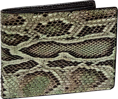 Etabeta Artigiano Toscano - Cartera de hombre de auténtica piel de pitono, de auténtica piel de pitono, con certificación CITES pintada con matices verdes y marrones