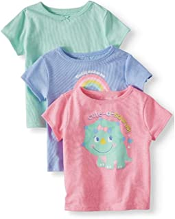 Toddler Baby Girls' Solid &Graphic T-Shirts, 3PC Multipack, Size 24M(Mint/Blue/Pink)