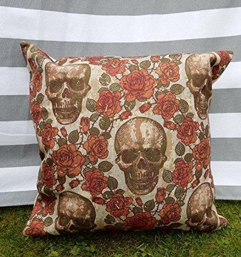Funda de cojín con diseño de calaveras florales para Halloween, día mexicano de los muertos