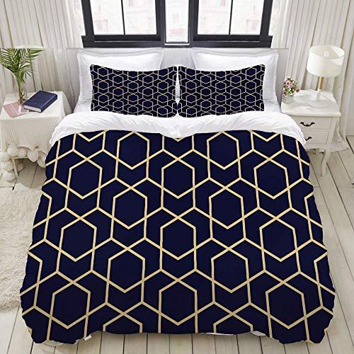 Juego de Funda nórdica, líneas geométricas abstractas Rombos sin Costuras, Colorido Juego de Cama Decorativo de 3 Piezas con 2 Fundas de Almohada
