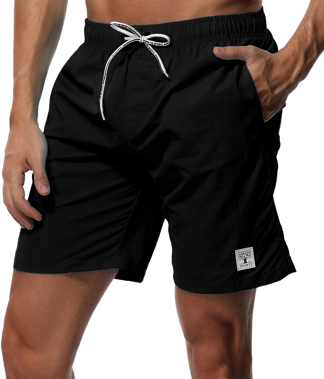 SHEKINI Men's Swim Trunks Quick Dry Slim fit Lightweight Beach Shorts with Pockets