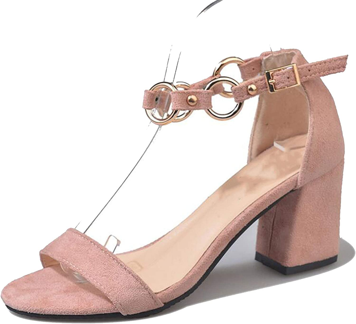 2018 Woman Sandals Open Toe Metal Ring Buckles High Heels Fashion Thick High Heels Sandals shoes