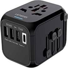 Universal Travel Adapter,International Power Adapter with Auto Resetting Fuse 5A 3 USB and 1 Type-C Port Wall Charger AC Power Plug Adapter for EU AUS Germany Japan Covers 200+ Countries(Black)