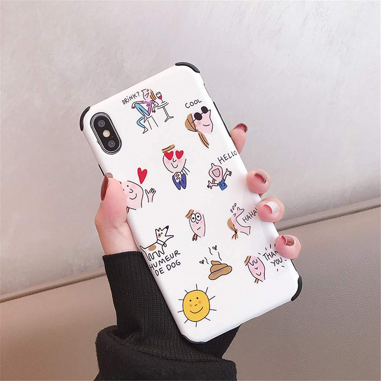 iPhone X/iPhone XS/iPhone XS Max ケース 薄型 ワイヤレス充電対応【いっぱい漫画の動物、 花、 フルーツ】 [ 薄型 軽量 ] [ レンズ保護 耐衝撃 ] [滑り止め]