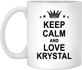 Krystal Name Gifts - Keep Calm And Love Krystal Large Tea Mug - Personalized Unique Gift For Men Women Birthday Christmas Gag Gift Tea Cup White Ceramic 11oz