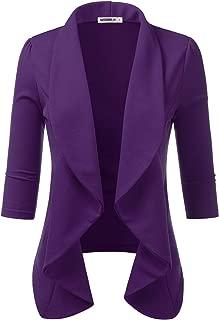 CLOVERY Women's 3/4 Sleeve Lightweight Office Cardigan Open Front Blazer