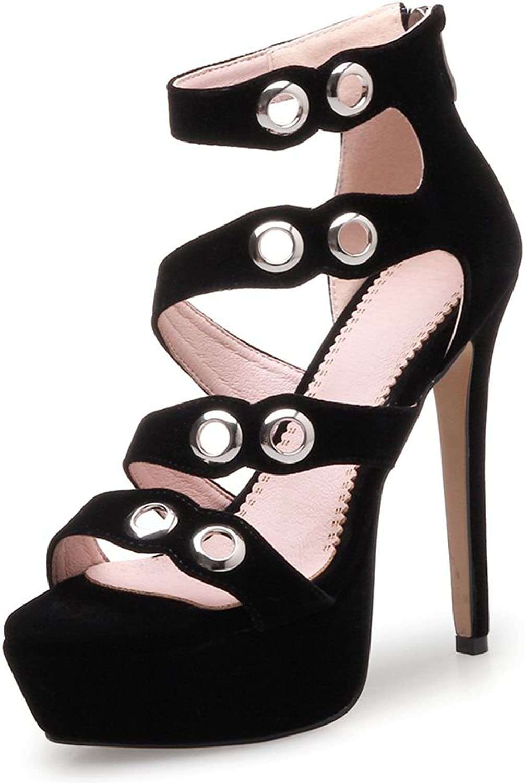 SaraIris Women Heeled Sandals Platform Stiletto Heels Rivet Zipper Ankle Strap for Summer