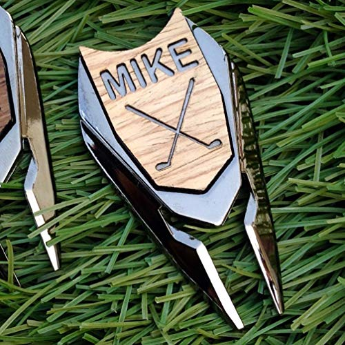 Golf Ball Marker Divot Tool Personalized Custom Engraved Real Oak Wood Golfer Markers